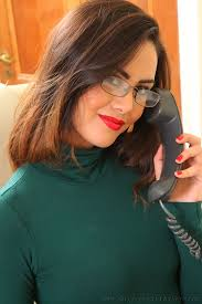 Picture Maria Smith Brown haired Smile Girls Telephone Hands