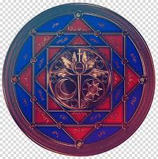 stained glass cobalt blue symbol