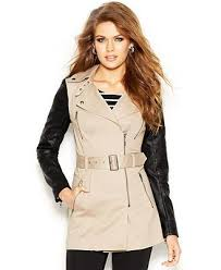 guess faux leather sleeve belted trench
