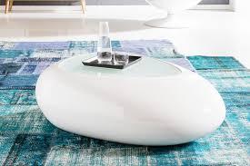 Couchtisch Oval Weiß Glas