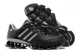 mens leather running shoes black silver