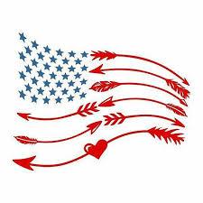 Arrows American Flag Heart And Arrows American Flag Car Decal Yeti Decal Patriotic Cricut Cricut Crafts Silhouette Crafts