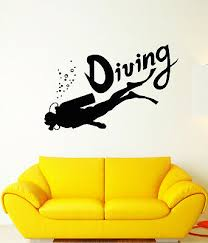 Ig4963 Vinyl Wall Decal Scuba Diving Underwater Diver Water Bubbles Stickers