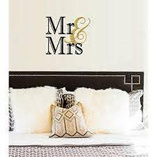 Best Decals Mr And Mrs Wall Or Window Decal 13 X 18 Black Gold Walmart Com Walmart Com