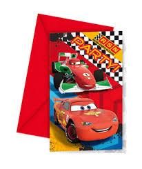 Invitaciones De Cumpleanos Disney Cars Pack De 6 Uds