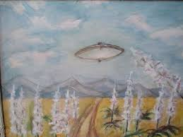 Enid Smith Arizona Desert Painting With Flying Saucer Alan ...