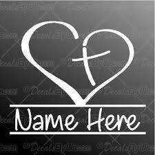 Christian Heart Name Decal Christian Heart Name Car Sticker Best Prices