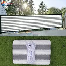 Tewango White Gray Sun Shade Screen Panel 3ft X 15ft Balconies Porch Patio Awning Privacy Garden Fence Cover 220gsm Shade Sails Nets Aliexpress