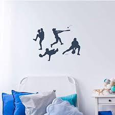 Amazon Com Baseball Player Vinyl Wall Decal Pitching Catching Fielding Batting Boys Room Decor Stickers Team Gift Idea Home Kitchen