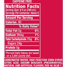 ginger beer nutrition label