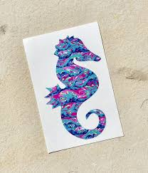 Seahorse Decal Patterned Seahorse Decal Seahorse Sticker Vinyl Decal Car Decal Yeti Decal Swig Decal Vinyl Sea Turtle Decal Glitter Decal Preppy Decal