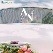 Split Monogram Wedding Car Window Decal Initial And Date Wedding Reception Party Sign Welcome Removable Vinyl Stickers Ba344 Wall Stickers Aliexpress