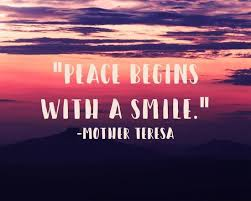 peace begins a smile mother teresa quote art by quote