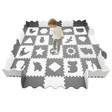 Han Mm Baby Play Mat Foam Puzzle Mat 20pcs With Fence Interlocking Thick 0 56 Quot Foam Floor Tiles For Kids Baby Playroom Baby Play Mat Foam Kid Room Decor