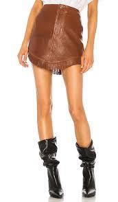 grlfrnd sa leather fringe mini skirt