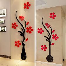 3d Vase Flower Diy Mirror Wall Decals Stickers Art Home Living Room Tv Decor Es Wall Stickers Living Room Vinyl Decor Diy Mirror