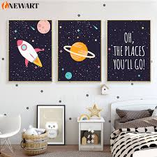 Nursery Children Houseroom Poster Canvas Outer Space Rocket Wall Art Print Painting Nordic Kids Room Baby Bedroom Decoration Painting Calligraphy Aliexpress