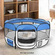 Shop 45 Portable Foldable 600d Oxford Cloth Mesh Pet Playpen Fence With Eight Panels On Sale Overstock 31131993