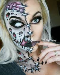 half face zombie halloween facepaint