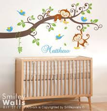 Jungle Monkey Branch Tree Wall Decal Personalized Custom Name Smileywalls On Artfire