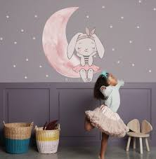 Kids Watercolor Cute Rabbit And Pink Moon With Little Stars Wall Decal Sticker Wall Decals Wallmur