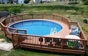 Creative Above Ground Swimming Pool Design With Unique Wooden Deck Pools Decks Sale Home Elements And Style Intex Nc Liners Packages Cleaners Oval Crismatec Com