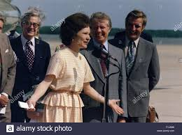 Rosalynn Carter, Jimmy Carter and Vice President Walter Mondale at a  ceremony welcoming Mrs. Carter back from her Latin American trip Stock  Photo - Alamy