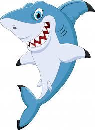 cartoon funny shark posing premium vector