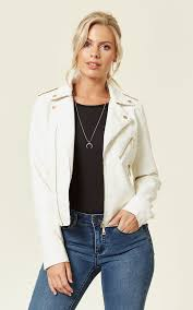 roxy faux leather biker jacket white