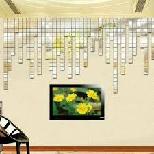 3d Mural Wall Sticker Bling Acrylic Mosaic Mirror Effect Home Decor 100pcs 2x2cm For Sale Online Ebay
