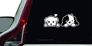 Amazon Com Puppy Couple Peeking Car Vinyl Sticker Decal Bumper Sticker For Auto Cars Trucks Walls Windows And More White Automotive