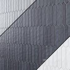 Gradient Greige Matte Black Matte White Matte 1 7 X9 5 Picket Shaped Tiles On Shower Wall Portland Direct Tile Marble