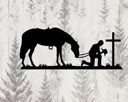 Cowboy Cross Decal Etsy