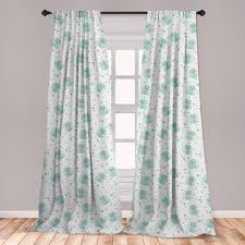 East Urban Home Ambesonne Elephant Curtains Baby Animal Characters With Long Ears And Daisy Blossoms Kids Window Treatments 2 Panel Set For Living Room Bedroom Decor 56 X 63 Mint Green White