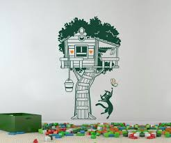 Tree House Wall Sticker Colorful Tree House And Cat Wall Etsy