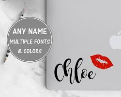 Cursive Name Sticker For Laptop Lip Decal Calligraphy Decal Etsy