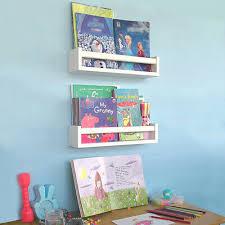Wood Nursery Shelves White Set Of 2 Floating Bookshelf For Kids Perfect Ebay