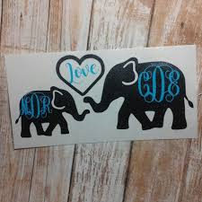 Atthesugarsnapvinyl Shared A New Photo On Etsy Elephant Decal Monogram Stickers Monogram Decal
