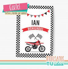 Cumple Moto De Carrera Roja Cartel Bienvenidos Imprimible