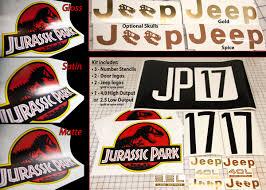 Jurassic Park Jeep Decal Stencil Kit Jp Gear