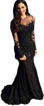 Adela Long Sleeve Mermaid Prom Dresses Lace Sheer Back Formal Evening Party  Gown AR160 at Amazon Women's Clothing store
