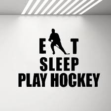 Hockey Eat Sleep Wall Decal Stickers Quotes Bedroom Ice Hockey Sport Team Game Wall Vinyl Decals Girls Boys Teenager Room G714 Wall Stickers Aliexpress