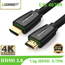 Freeship 99k TQ_Dây cáp HDMI 0.75M Ugreen 40799 chuẩn 2.0 hỗ trợ 3D 4K