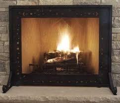 fireplace screen gate black steel frame