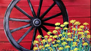 Easy Beginner Acrylic Painting Rustic Wagon Wheel With Flowers Live Tutorial Youtube