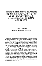 INTERGOVERNMENTAL RELATIONS AND THE IMPLEMENTATION OF THE YOUTH EMPLOYMENT  AND DEMONSTRATION PROJECTS ACT OF 1977