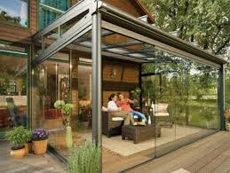 glass enclosed patio with images