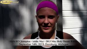 Interview: Addie May, Girl's D2 Champion, at the 2013 Nike Holly Duane  Raffin Festival of Races / Sep. 15, 2013 / RunMichigan Top News  RunMichigan.com / Michigan Top Running News, Calendar, Results, Videos,  Photos and more!