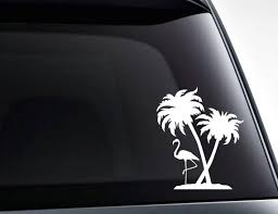 Flamingo And Palm Trees Vinyl Car Decal Sticker Etsy