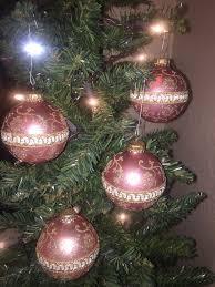 vtg set of 4 off white glass ornaments